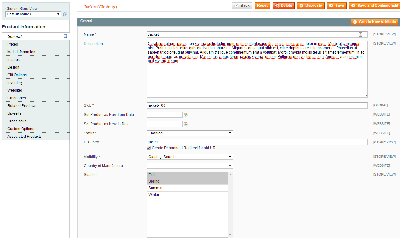 Figure 2. The new 'Season' attribute displayed in the admin area, when editing a product.